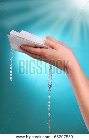 The First Holy Communion With Prayer Book In Hands