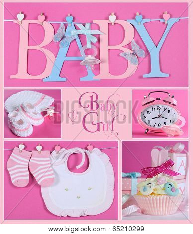 Pink Baby Girl Collage