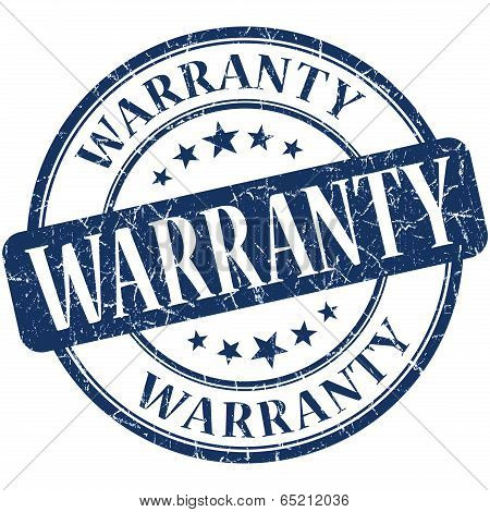 Warranty Blue Round Grungy Vintage Rubber Stamp
