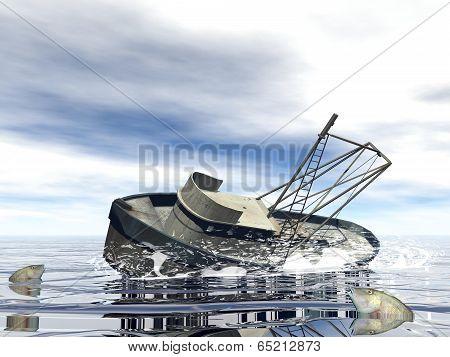 Fishing boat sinking - 3D render