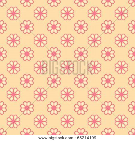Feminine vector seamless pattern (tiling). Fond pink and orange