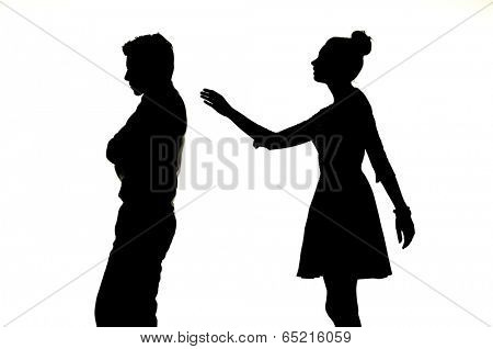 Young couple silhouette busted up
