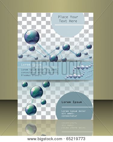 Molecular brochure design. Vector illustration. Eps 10.