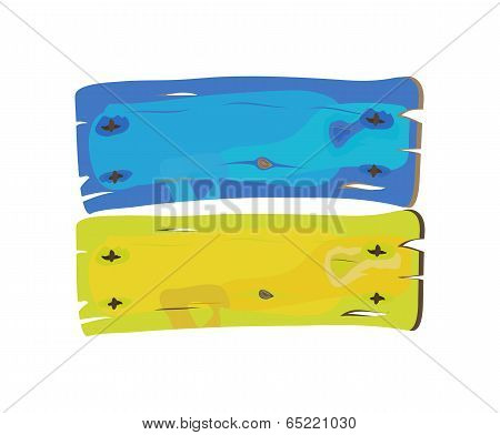 Ukranian Flag Painted On Wooden Planks Isolated On White  Vector Illustration