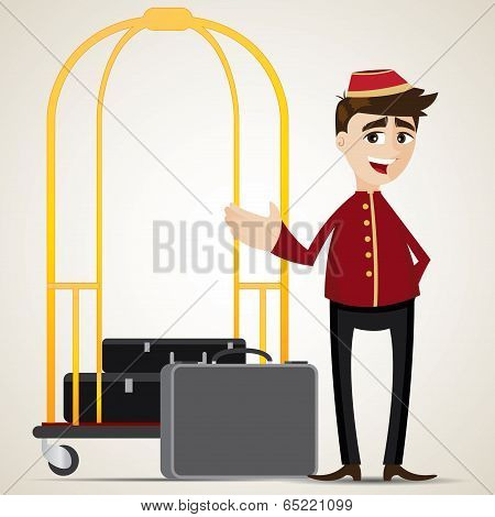 Cartoon Bell Boy With Trolley And Bag