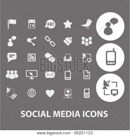 social media, communication, internet icons set, vector