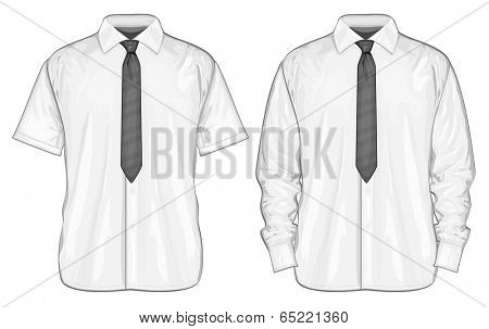Vector illustration of dress shirts (button-down) with neckties.