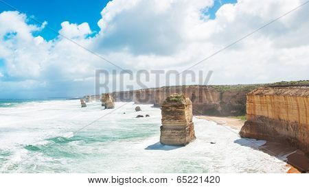 Panoramic photo of Twelve Apostles, natural landmark near the Great Ocean Road. Victoria, Australia