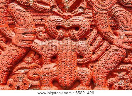 Detail of an old beautiful maori carving, Rotorua, New Zealand