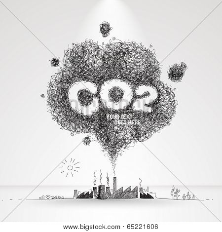 Vector Illustration of Air Pollution.