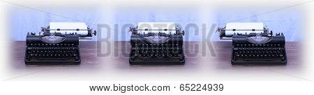 Old Typewriter On Wooden Table