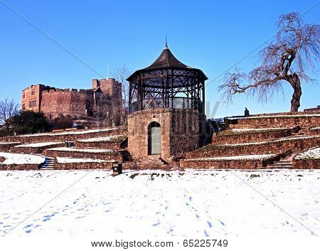 Castle and bandstand in Winter, Tamworth.