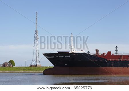 Brunsbuettel - Bulbous Bow Of Container Vessel At Lockage