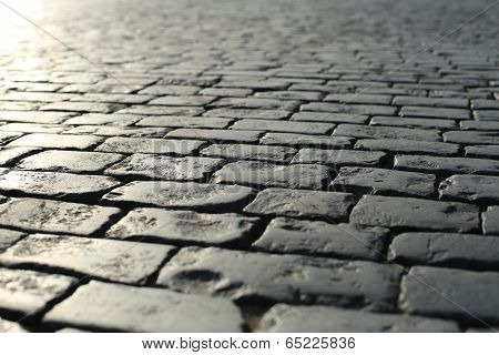 Road is concrete tiles, the background