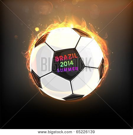 Brazil Summer 2014 Vector, Soccer Ball for Football Design. Burning Ball for Bright Banners Designs.