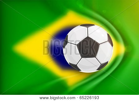 Brazil Summer 2014 Vector, Soccer Ball for Football Design. Blurred Brazil Flag with gathers for Background.