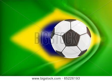 Brazil Summer 2014 Vector, Soccer Ball for Football Design. Blurred Brazil Flag with gathers for Background.
