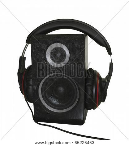 Audio Speaker And Headphones Isolated Over White