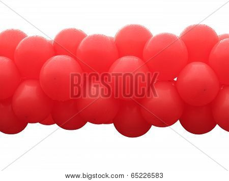 Red Balloons Bunch Isolated On White Background