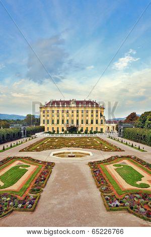 VIENNA, AUSTRIA - SEPTEMBER 26, 2013: Area with flower beds regular geometric forms. Sch�?�?�?�¶nbrunn - the summer residence of the Austrian Habsburgs