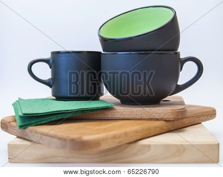 Teacups and saucers graphite gray