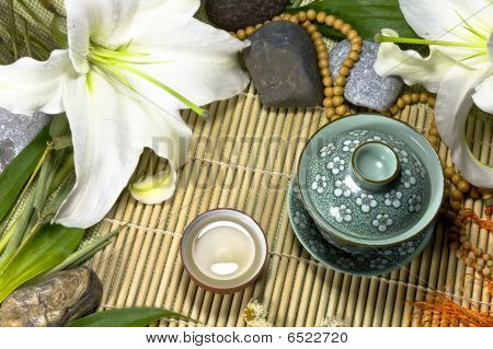 Oriental Ancient Traditional Tea Ceremony Still Life.