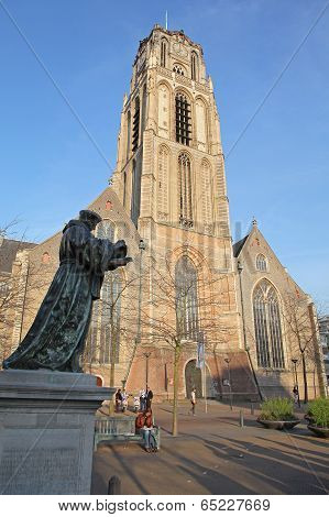Bronze Statue Of Erasmus On The Square In Rotterdam, Netherladns
