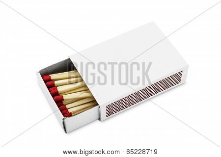Half Opened Blank Matchbox With Matches Inside Isolated On White