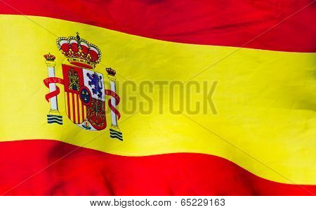 Spanish Flag In Wind Close Up
