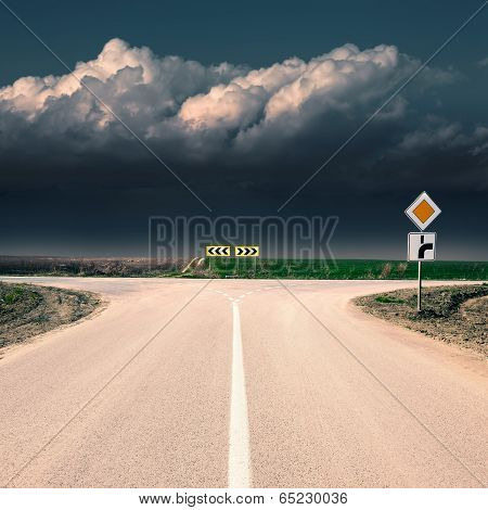 Crossroad With Signs Of Priority Of Passage