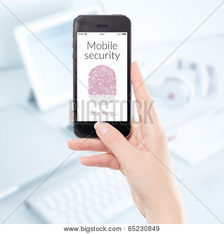 Close Up Mobile Security Smartphone Fingerprint Scanning