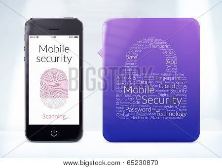Mobile Security Fingerprint Scanning Is On The Modern Smartphone Screen With Word Cloud Sticker