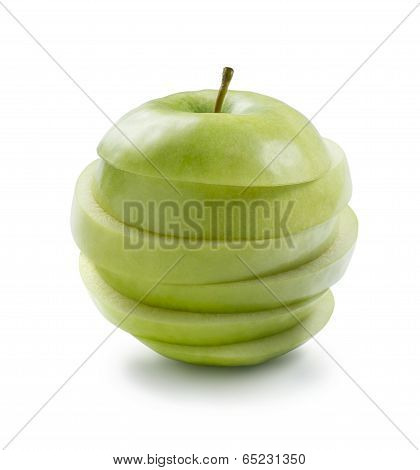 Sliced Green Cooking Apple On White Background Isolated