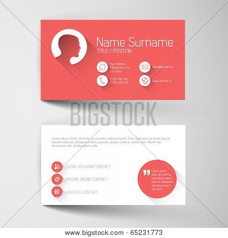 Modern simple red business card template with flat user interface