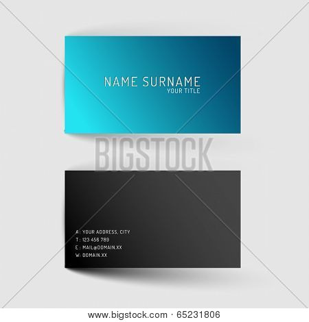 Modern simple blue minimalistic dark  business card template