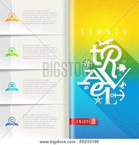 Booklet template with infographic elements - summer travel greeting sign on pattern paper pages - vector design