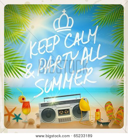 Tropical beach summer party - Vector vintage design with hand drawn greeting
