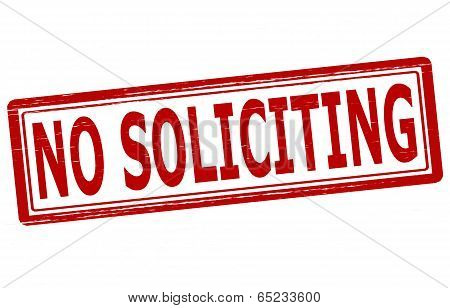 Stamp with text no soliciting inside vector illustration