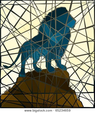 Editable vector mosaic illustration of a male lion standing on a rocky outcrop
