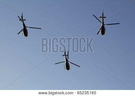 Serbian Air Force Helicopters In Formation
