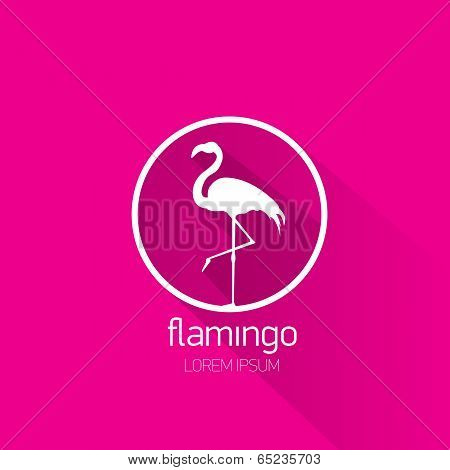 vector stylish flat design flamingo Icon