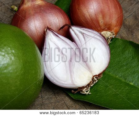Shallots On Wooden