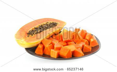 Dish Of Juicy Papaya -tropical Fruit On White