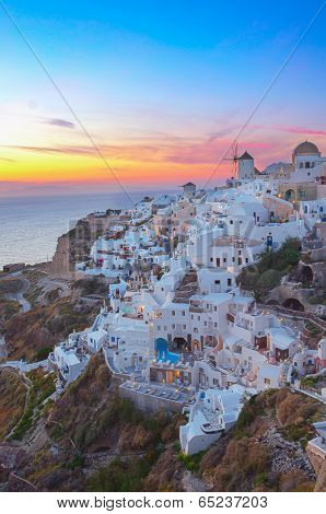 Oia village at sunset, Santorini