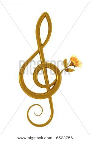 Treble Clef And Yellow Rose