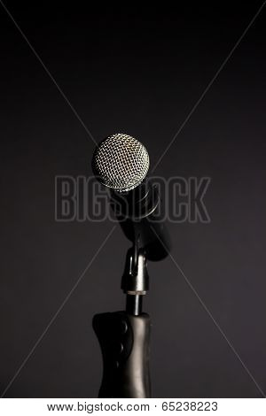 Vocal Microphone Against Dark Background 1