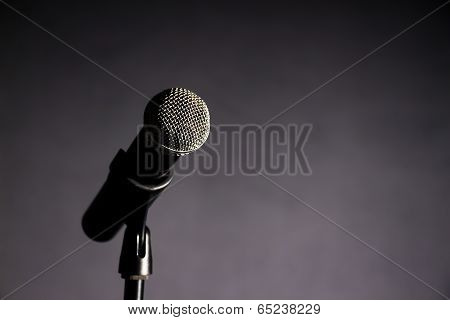 Vocal Microphone Against Dark Background 2