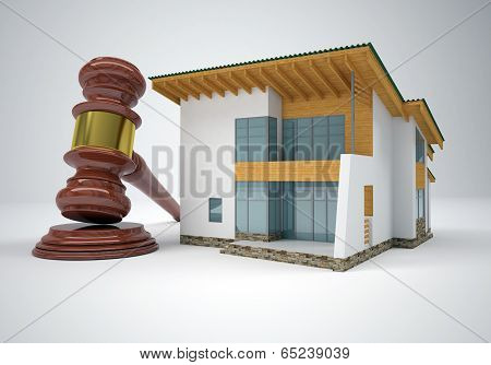 Gavel and small house