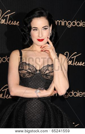 LOS ANGELES - MAY 17:  Dita Von Teese at the Dita Von Teese Launches Her Lingerie Collection at Bloomingdales on May 17, 2014 in Century City, CA
