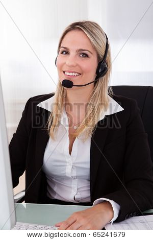 Happy Woman Operator With Headset